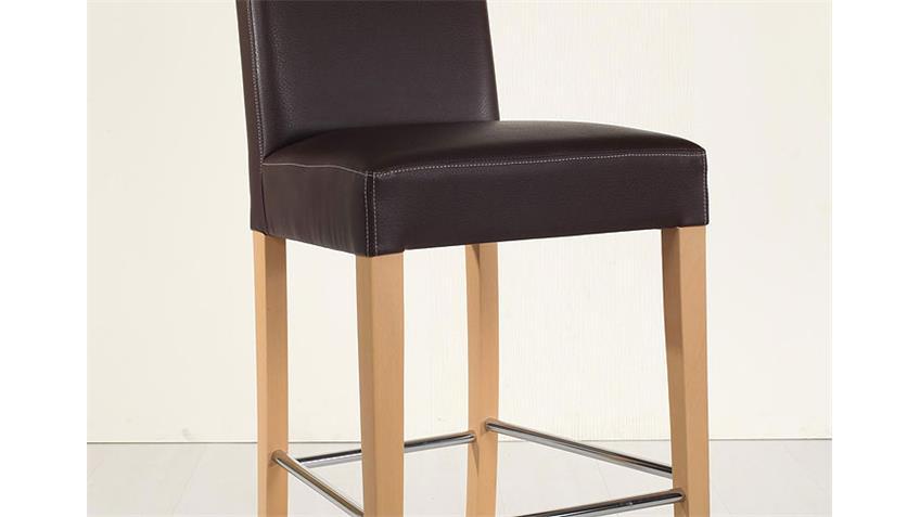 Barstuhl CHALO Stuhl Bistrostuhl in braun buche und Chrom