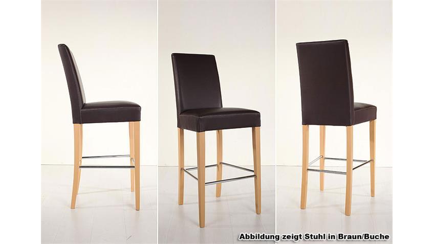 Barstuhl CHALO Stuhl Bistrostuhl in braun eiche und Chrom