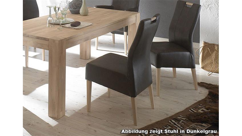 Stuhl VAGE Polsterstuhl in braun und Sonoma Eiche lackiert
