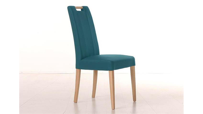 Stuhl SAM 2 petrol blau und Buche natur mit Griff