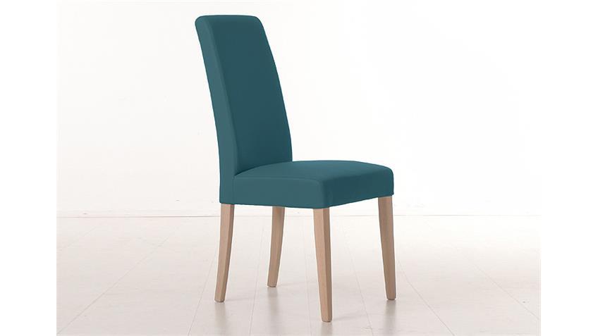 Stuhl SAMIRO 1 Polsterstuhl in petrol blau und Sonoma Eiche