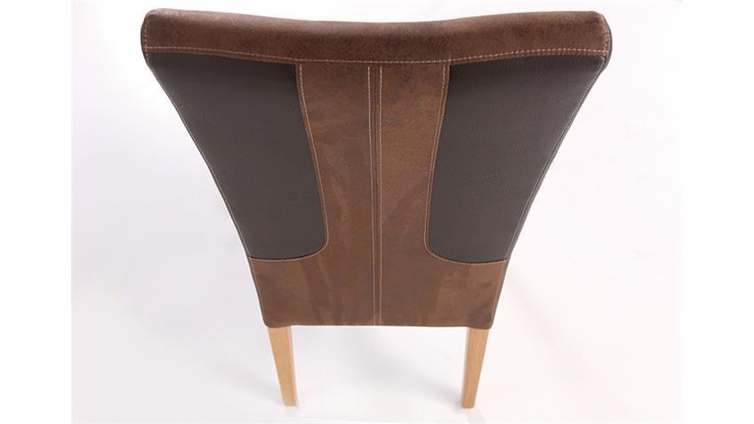 Stuhl FABIO dunkelbraun braun und Eiche natur