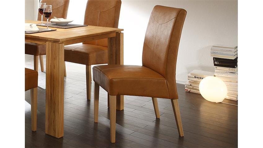 Stuhl FABIO Polsterstuhl Stuhl in hellbraun und Eiche natur