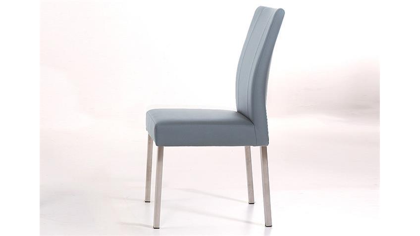 Stuhl LAURA Esszimmerstuhl Polsterstuhl grau und Edelstahl