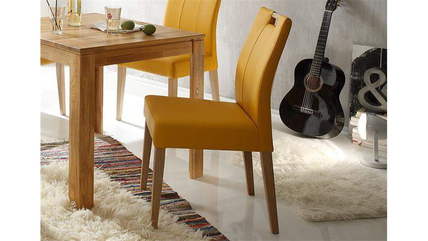Stuhl LAURA mit Griff Eiche natur und curry gelb