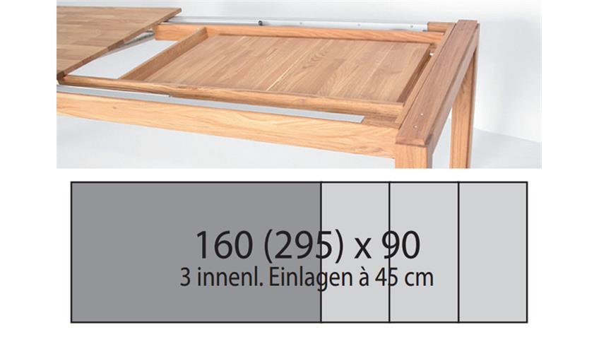 Esstisch NEVEN Kernbuche massiv lackiert 160-295x90 cm