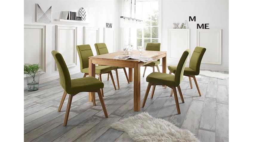 Tischgruppe NEVEN BELA Eiche natur massiv geölt grün