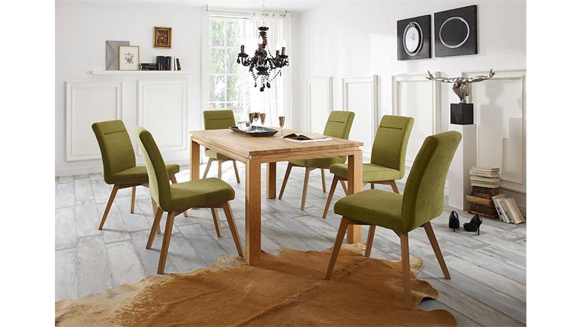 Tischgruppe YASHA BELA Eiche natur massiv geölt grün