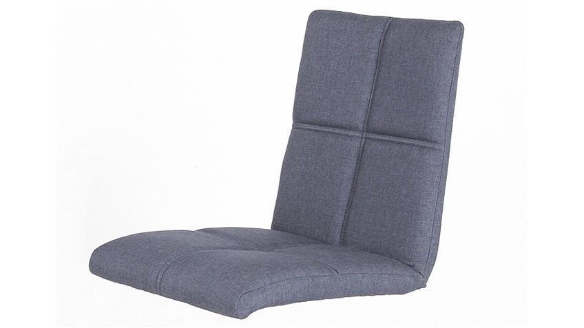 Stuhl MANON 2er Set Bezug jeans Gestell Eiche natur massiv