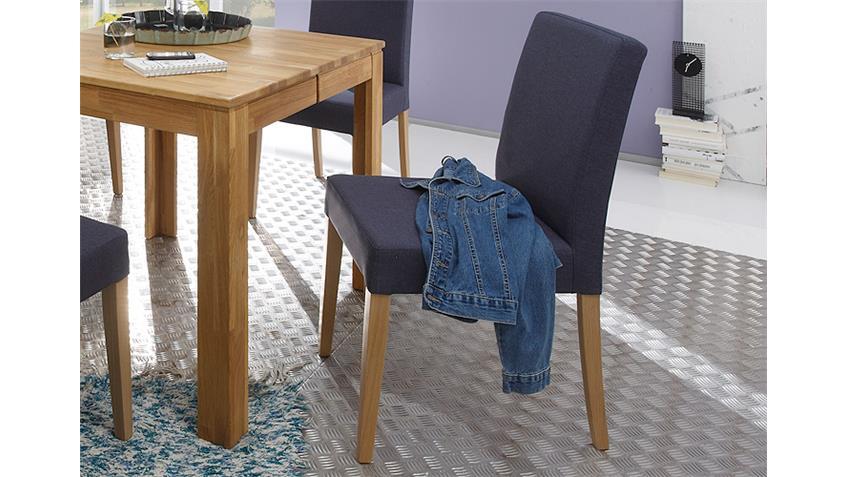 Stuhl ELLEN Bezug jeans Gestell Eiche natur massiv