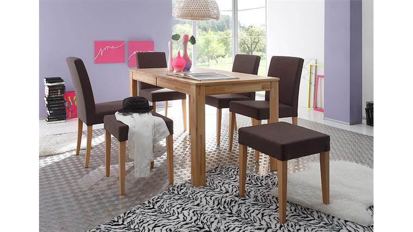 hocker ellen bezug braun gestell buche natur massiv. Black Bedroom Furniture Sets. Home Design Ideas