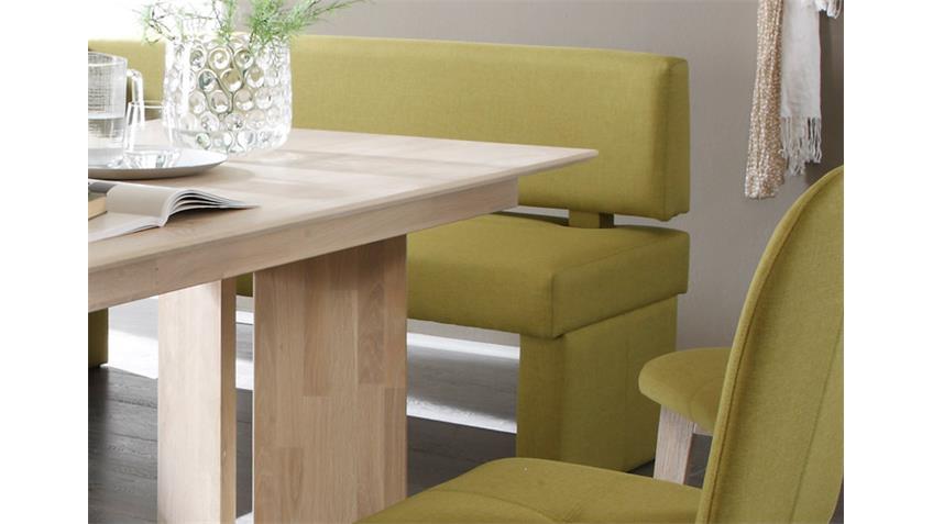 Eckbank DOMINO in Webstoff lemon rechts 224x167 cm