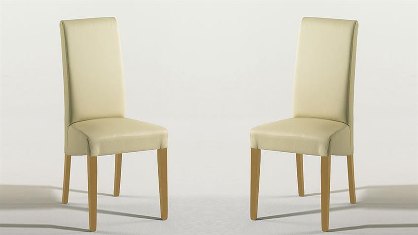 Stuhl RUDI 2er Set Esszimmerstuhl Polsterstuhl in beige Buche natur