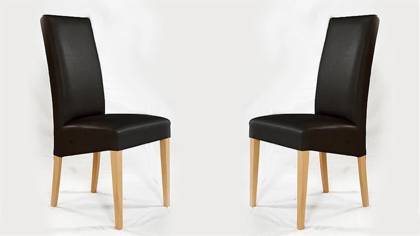 Stuhl RUDI 2er set Esszimmerstuhl Polsterstuhl in schwarz und Buche