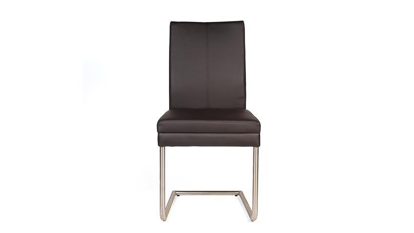 Schwingstuhl GOJA Stuhl in Kaiman braun und Edelstahl