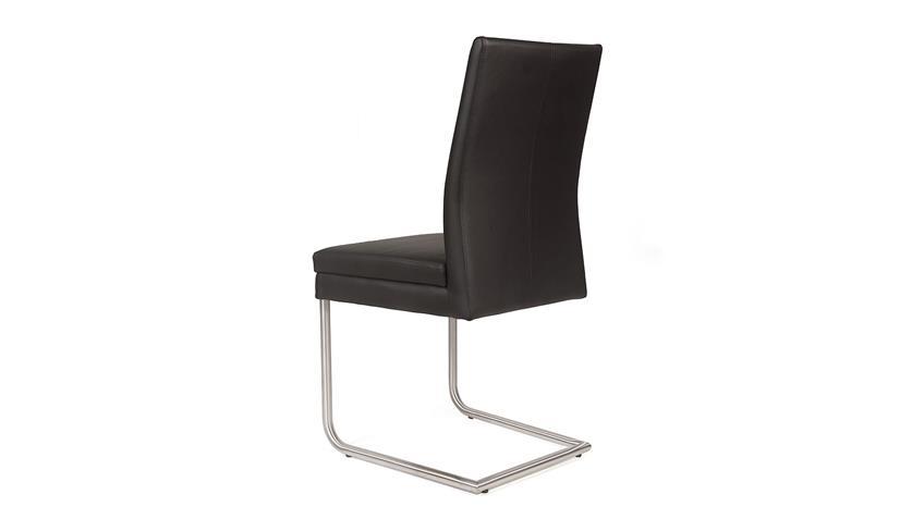 Schwingstuhl GOJA Stuhl in Kaiman schwarz und Edelstahl