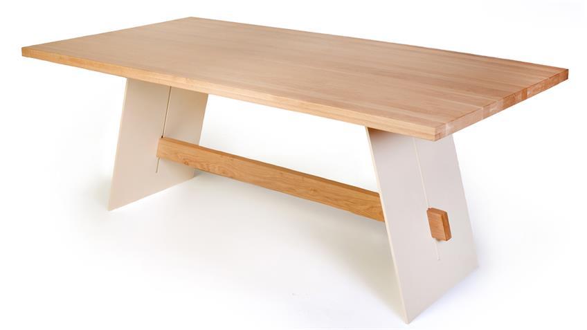 Esstisch ALADIN in Eiche Bianco und weiß Tisch 180x90 cm