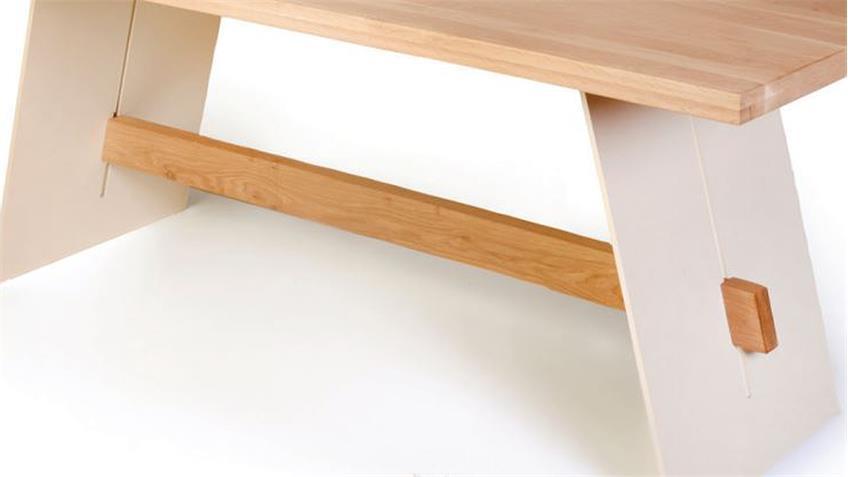 Esstisch ALADIN in Eiche Bianco und weiß Tisch 200x95 cm