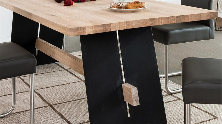 Esstisch ALADIN Eiche Bianco und schwarz Tisch 180x95 cm