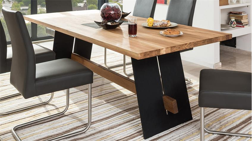 Esstisch ALADIN Tisch Eiche Natur und schwarz 200x95 cm