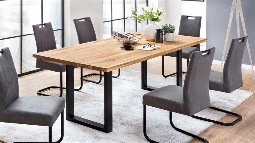 esstisch quebec 180x90 cm in eiche rustik massiv ge lt metall schwarz. Black Bedroom Furniture Sets. Home Design Ideas