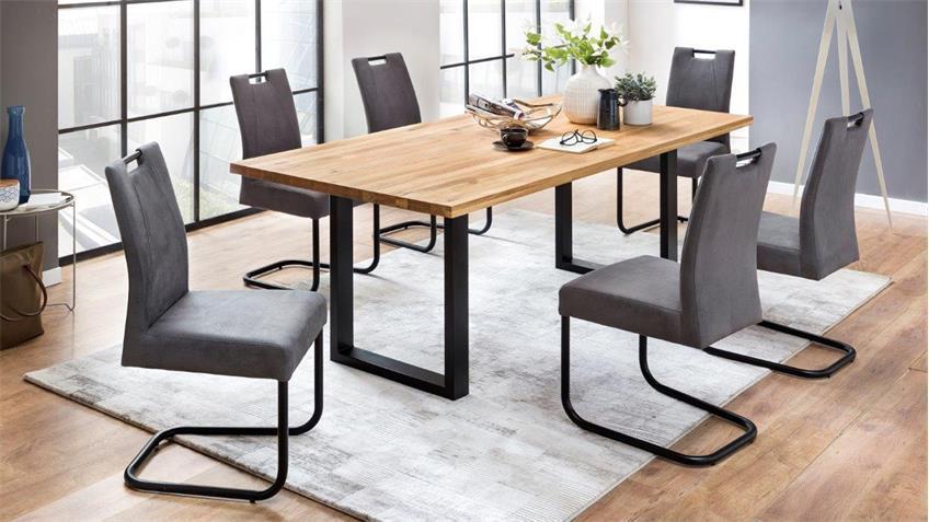 esstisch quebec 200x100 cm in eiche rustik massiv ge lt metall schwarz. Black Bedroom Furniture Sets. Home Design Ideas
