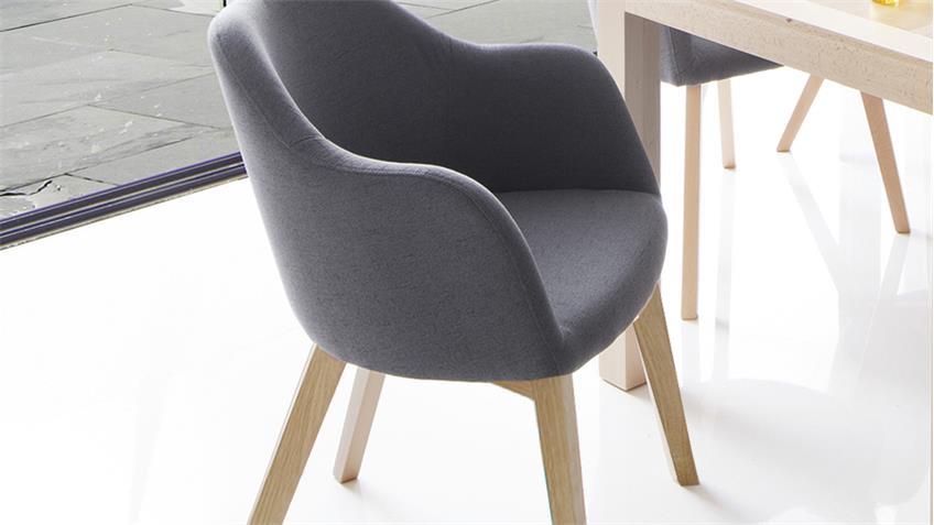 systemsessel theo 4 fu stuhl stoff grau und eiche natur. Black Bedroom Furniture Sets. Home Design Ideas