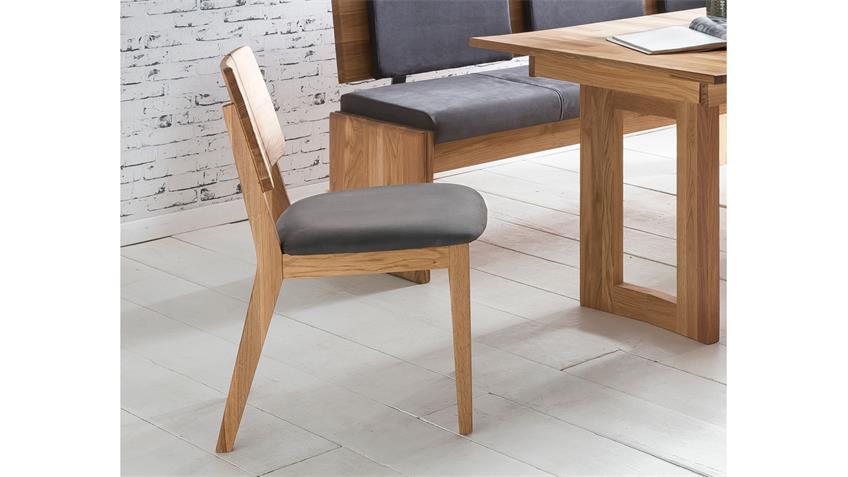 Stuhl NORMAN 2 Esszimmerstuhl Stoff grau und Eiche natur massiv geölt