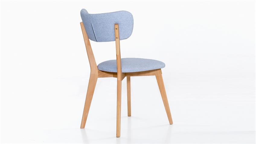 Polsterstuhl NOCI 1 Stuhl Stuhlsystem Kernbuche massiv Stoff hellblau