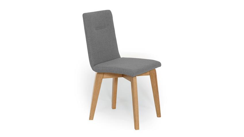 Polsterstuhl ONTARIO 1 Esszimmerstuhl Stuhl Stoff grau und Eiche natur