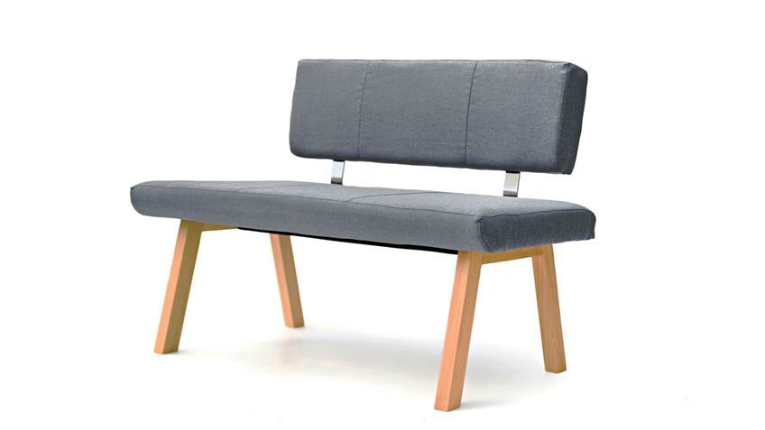 Sitzbank KONSTANZ Polsterbank Stoff grau Eiche natur mit Rücken 130 cm