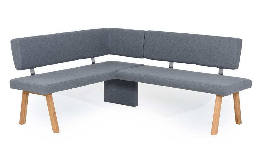 Eckbankgruppe KONSTANZ Tischgruppe Stoff grau und Eiche natur 4-teilig