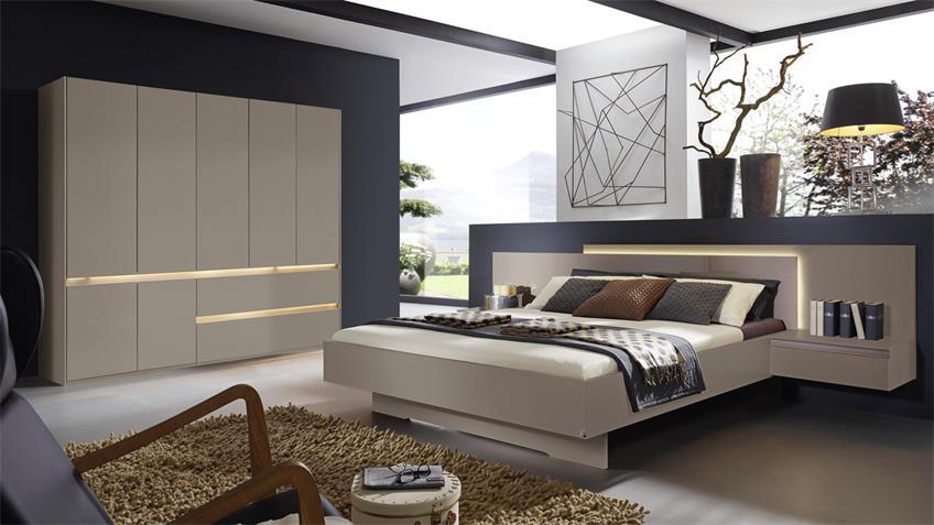 Schlafzimmer ATAMI Bettanlage Nachtkommode Schrank in fango