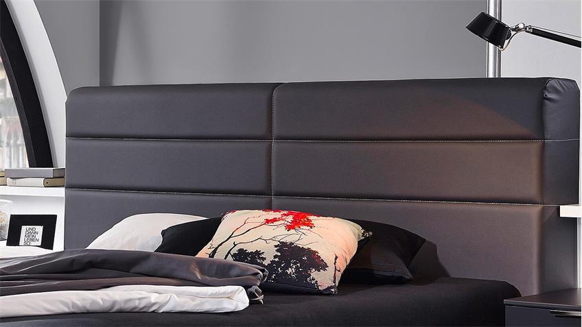Bett LUCCA Schlafzimmerbett Polsterbett in weiß matt und basalt 180