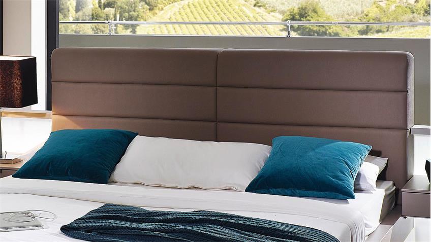 Bett LUCCA Schlafzimmerbett Polsterbett in Fango matt 180