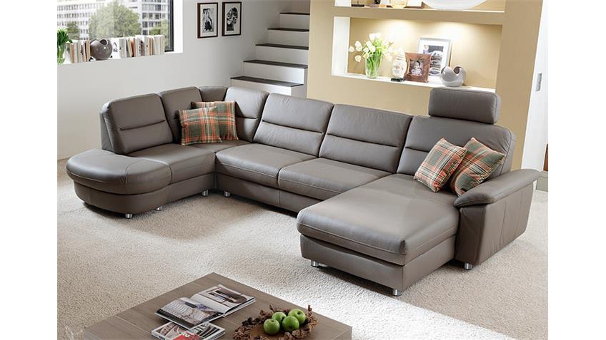 Ecksofa rechts DELANO Wohnlandschaft Sofa in grau und braun