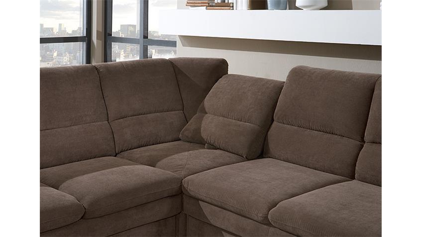 Ecksofa links GINGER Sofa in braun mit Bettfunktion