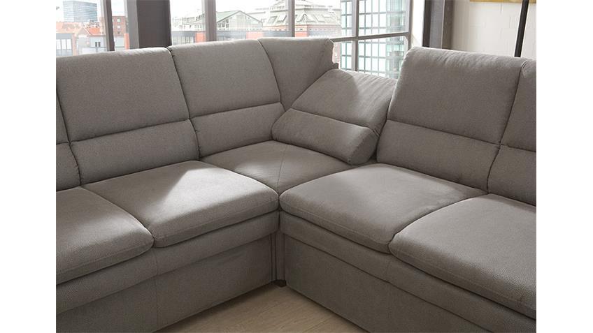 Ecksofa rechts GINGER Sofa Wohnlandschaft grau Bettfunktion