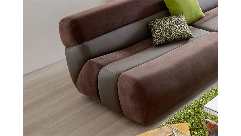 Eckgarnitur SCOUT Ecksofa Sofa in braun hellbraun links