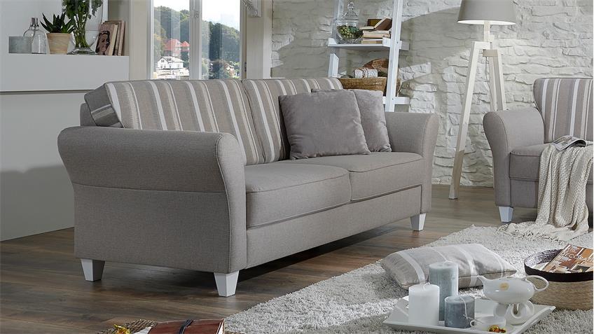 Sofa 3er BALTRUM 3-Sitzer Polstermöbel beige Landhaus 187