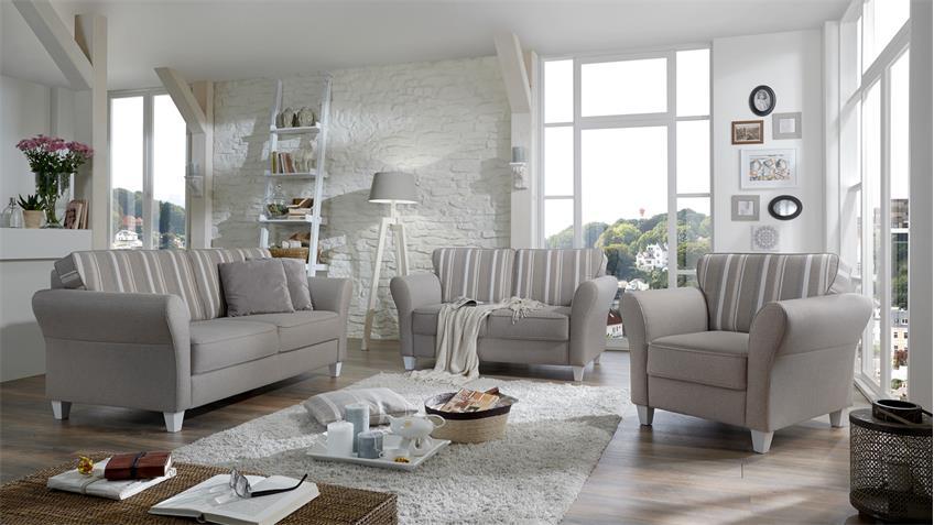 Sofa 2er BALTRUM 2-Sitzer Polstermöbel beige Landhaus 157