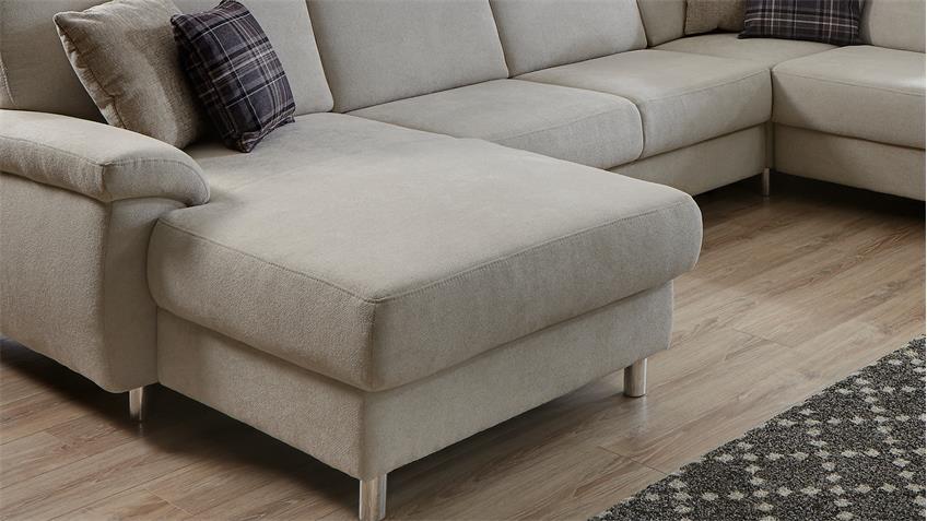 Wohnlandschaft WINSTON Ecksofa Sofa Polstermöbel grau weiß