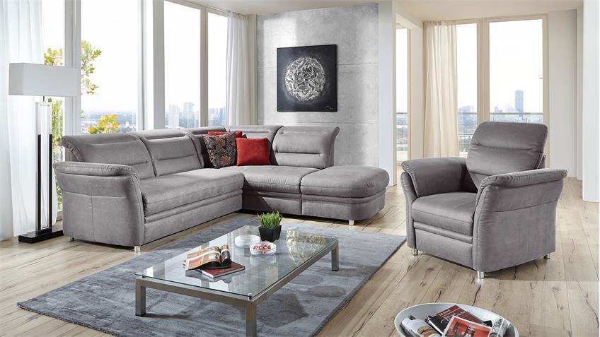Ecksofa BENTLEYS Wohnlandschaft Sofa Polstermöbel in steeel-grau 261 cm
