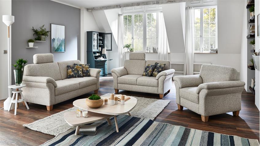 sofagarnitur borkum 3 2 1 garnitur stoff natur federkern landhausstil. Black Bedroom Furniture Sets. Home Design Ideas