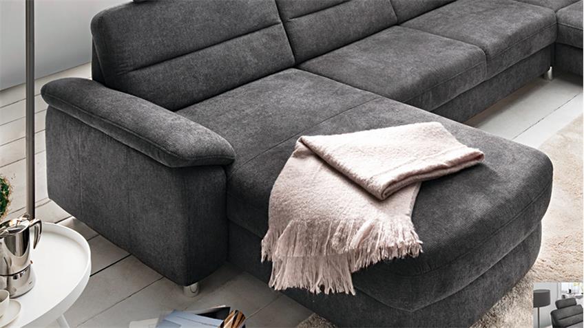 Wohnlandschaft delano u form ecksofa stoff dunkelgrau grau for Wohnlandschaft u form 320 cm