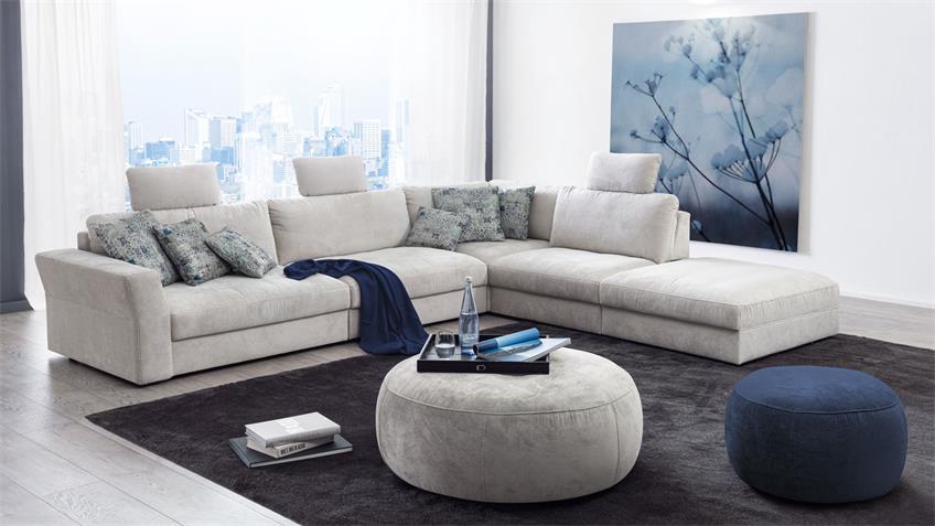 Ecksofa CARLEE L-Sofa in Stoff hellgrau Sitztiefenverstellung