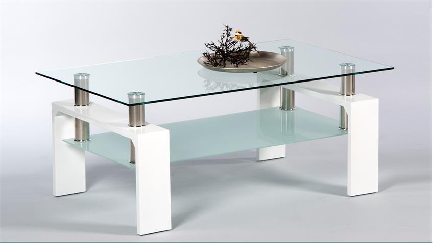 Couchtisch MANO Wohnzimmertisch Tisch weiß Hochglanz Glas 100 cm