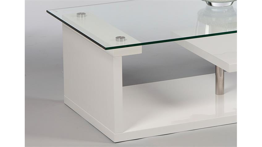 Couchtisch RETOX weiß hochglanz lackiert mit Glasplatte