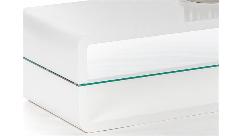 Couchtisch TRITON 2 Weiß Hochglanz Klarglas