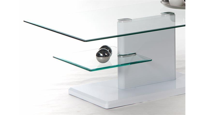 Couchtisch MADERA weiß hochglanz lackiert mit Glasplatte